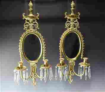A PAIR OF VINTAGE WALL-MOUNT CANDLE HOLDERS WITH MIRROR