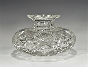A LARGE 19TH CENTURY HAND CUT CRYSTAL VASE