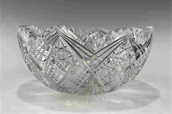 A LARGE LATE 19TH CENTURY HAND CUT CRYSTAL BOWL