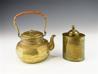 A CHINESE PAKTONG TEA CANDY AND A MATCHING TEAPOT