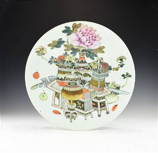 A LARGE REPUBLIC PERIOD CHINESE FAMILLE ROSE PLATE