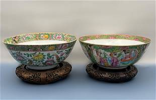 A PAIR OF QING DYNASTY CHINESE ROSE MEDALLION BIG BOWLS