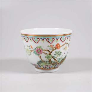 A late 19th century chinese porcelain flower cup