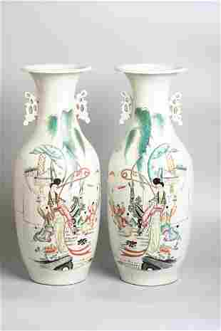 A large pair of Chinese porcelain Sanniang jiaozi vases