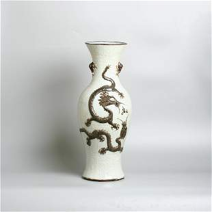 A very large 19th century Chinese porcelain dragon vase