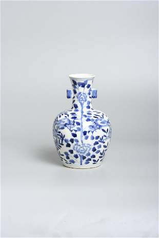 A Chinese porcelain blue and white vase