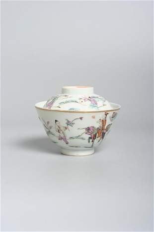 A Chinese porcelain bowl with cover , Republic period