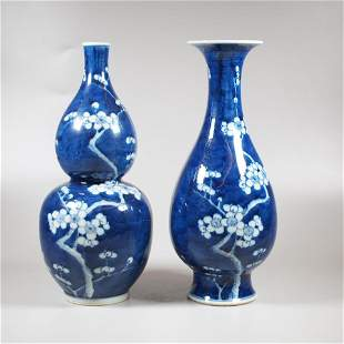 2 Chinese blue and white porcelain prunus vases