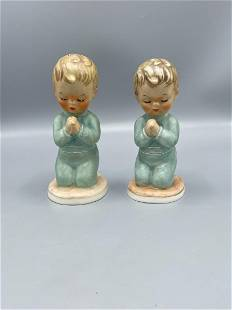 2 biscuit porcelain praying children