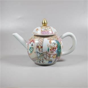 A Chinese porcelain famille rose teapot , 18th century