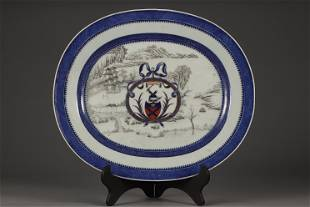 A large Chinese porcelain armorial dish