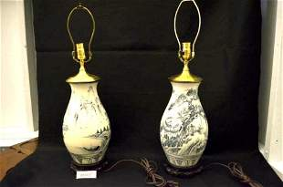 Blue and White Oriental Lamp Stands