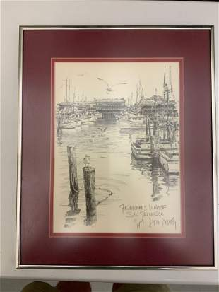 Framed and matted picture of fisherman's wharf