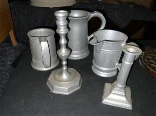 Miscellaneous pewter pieces
