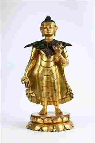 GOLD GILDING GAUTAMA BUDDHA STATUE