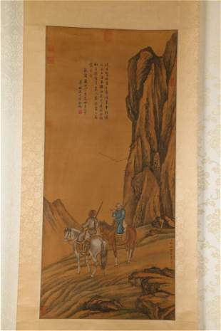 A HUNTING PAINTING ON SILK
