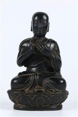 A COAL SPAR GURU BUDDHA STATUE, MING DYN.
