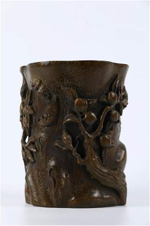 A AGARWOOD CARVED BRUSH POT