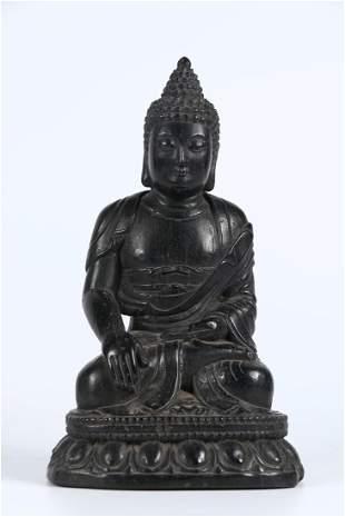 A COAL SPAR SAKYAMUNI BUDDHA STATUE, MING DYN.