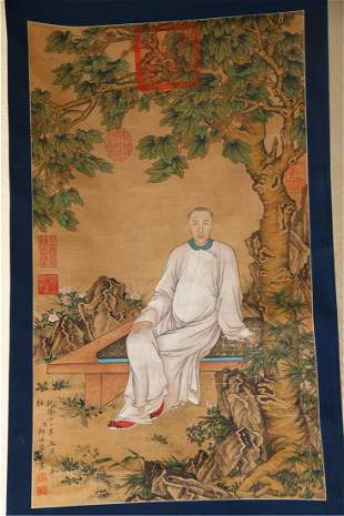A FIGURE PAINTING ON SILK