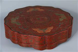 A CHINESE LACQUER COLORED HOLDING BOX