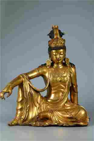 A GILT BRONZE FREE GUANYIN BUDDHA STATUE