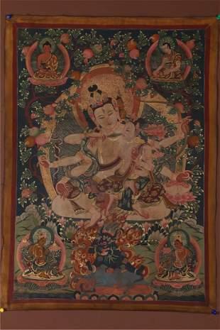 A HAPPY BUDDHA THANGKA.