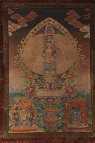 A EIGHT-ARM AND ELEVEN-FACE BUDDHA THANGKA