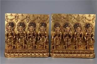 A GILT BRONZE DHARMAPALAS GUANYIN BUDDHA STATUE