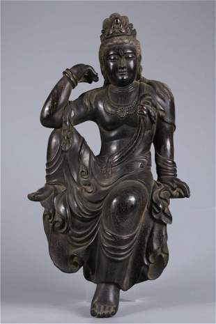 A NARRA WOOD BODHISATTVA BUDDHA STATUE