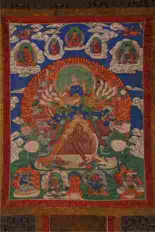A CHAKRASAMVARA BUDDHA THANGKA.