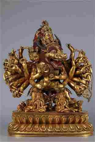 A GILT BRONZE YAMANTAKA BUDDHA STATUE, MING DYN.