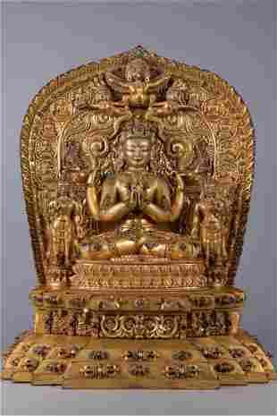 A GILT BRONZE BODHISATTVA BUDDHA STATUE