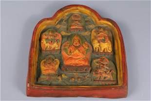 A CLAY TSHA-TSHA OF TSONGKHAPA BUDDHA.