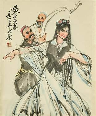 A XINJIANG DANCE PAINTING ON PAPER