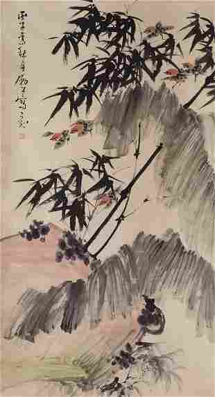 A BAMBOO AND SPARROWS PAINTING