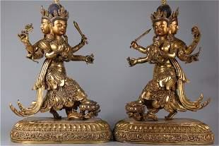 A SET OF GILT BRONZE BODHISATTVA BUDDHA STATUES