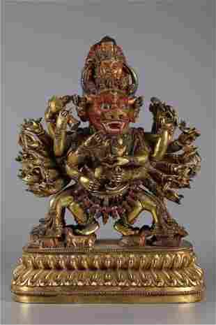 A GILT BRONZE YAMANTAKA BUDDHA STATUE
