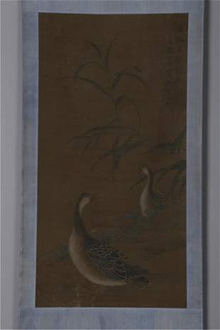 A GEESE PAINTING ON SILK