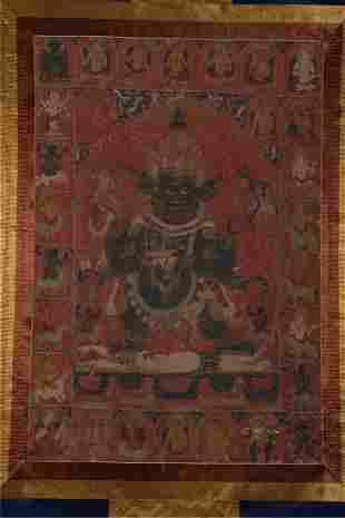 A SIX-ARM MAHAKALA BUDDHA THANGKA,