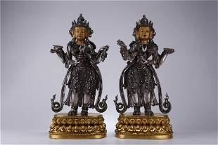 A SET OF SILVER BODHISATTVA BUDDHA STATUES