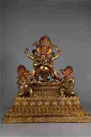 A GILT BRONZE MAHAKALA BUDDHA STATUE