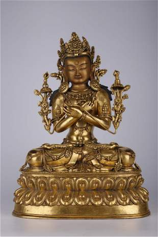 A GILT BRONZE VAJRADHARA BUDDHA STATUE