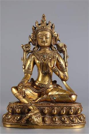 A GILT BRONZE GREEN TARA BUDDHA STATUE