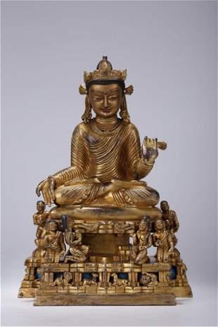A GILT BRONZE SIWATE BUDDHA STATUE