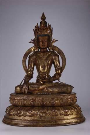 A GILT BRONZE AMITAYUS BUDDHA STATUE