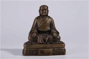 A BRONZE GURU BUDDHA STATUE, MING DYN.