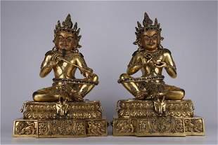 A SET OF GILT BRONZE MAHASIDDHA BUDDHA STATUES