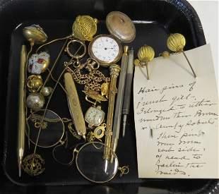 Jewelry, pencils, watch