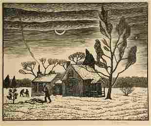 Julius John Lankes - House with Woodchopper